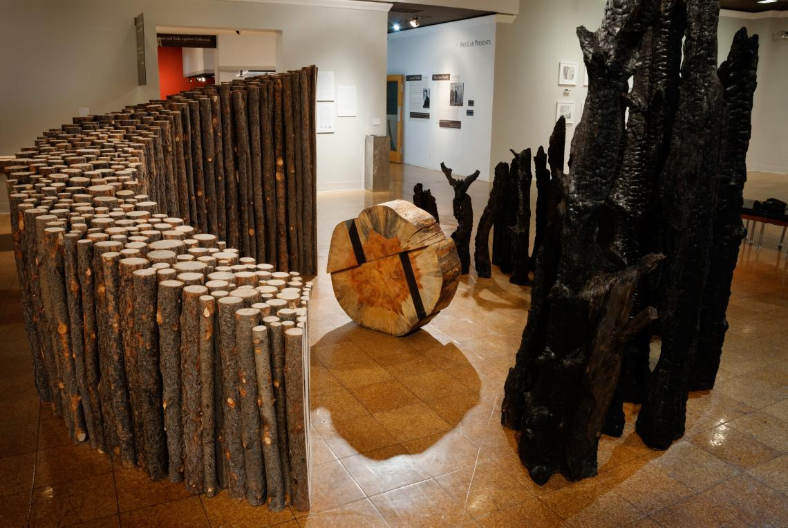 """Bryan David Griffith's """"Broken Equilibrium and Reconstruction"""" welcomes visitors into the exhibit."""