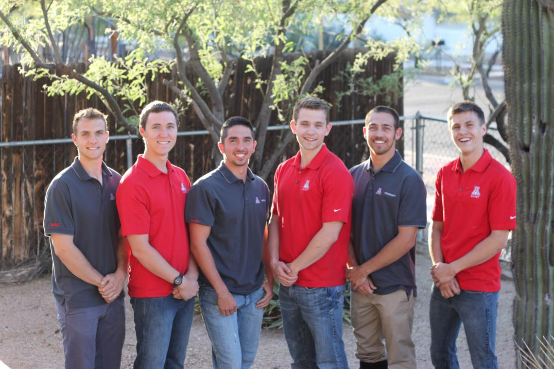 The UA Microgravity Research Team, from left: Ruben Adkins, aerospace engineering; Dustin Groff, chemical engineering; Michael McCabe, mechanical engineering; Justin Hacnik, molecular and cellular biology; Andrew Jimenez, chemical engineering; and Kellin
