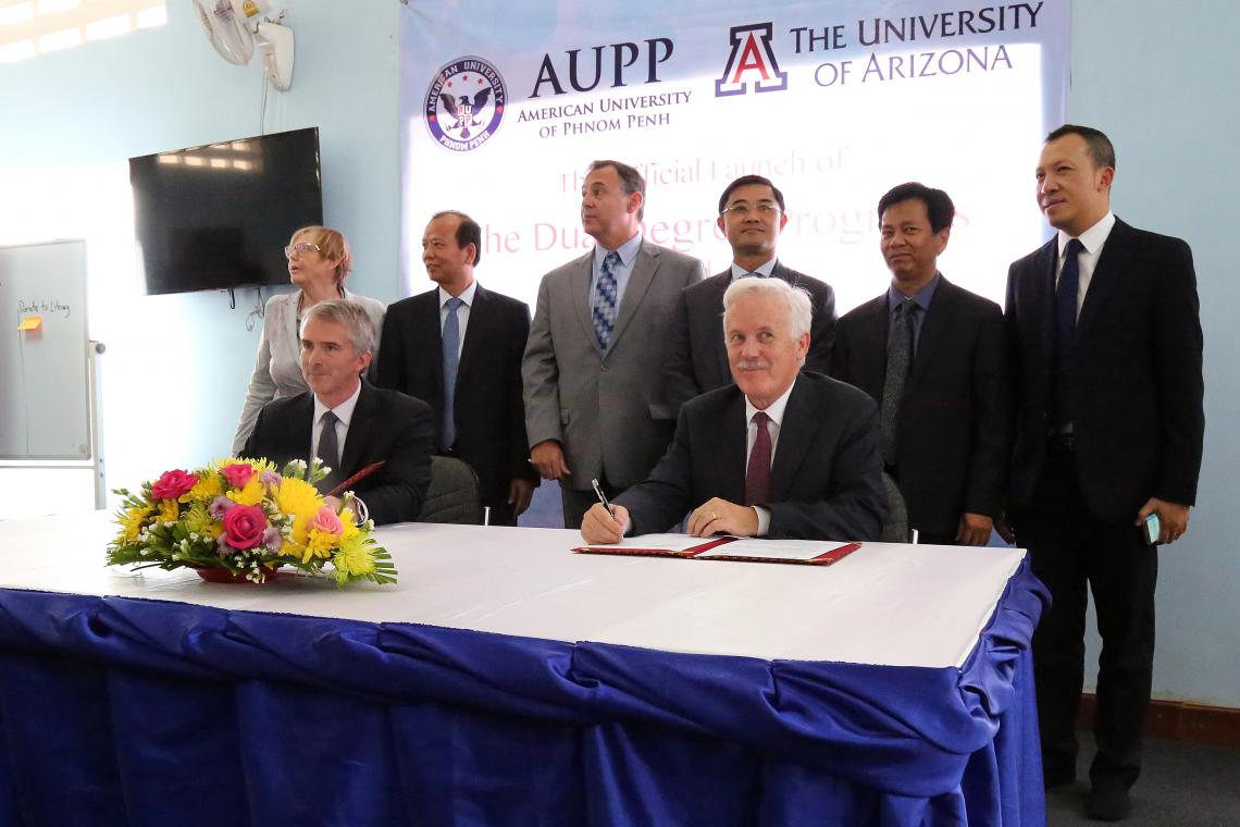 The 11 new partnerships join the UA's two existing micro-campuses, which are UA Qingdao at Ocean University of China and UA Phnom Penh at the American University of Phnom Penh in Cambodia .