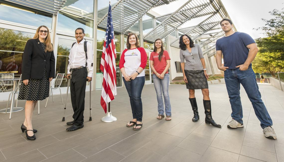 From left: Law fellow Lori Lewis, veteran and UA student Erick Hernandez, students Amanda Ehredt and Zoey Kotzambasis, VALC director Kristine Huskey, and veteran and student Nick Hamilton