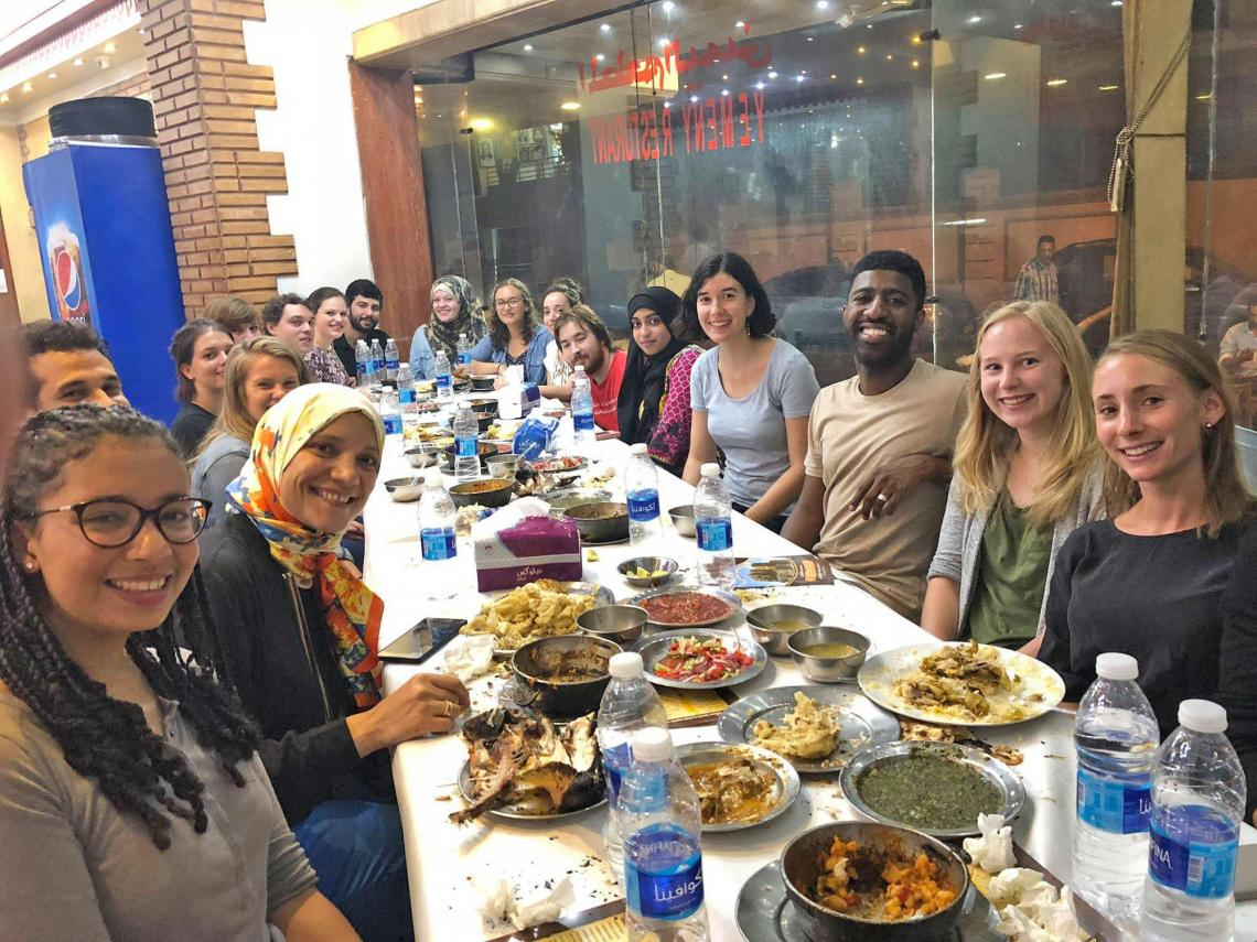 Center for Arabic Study Abroad fellows at an orientation dinner.
