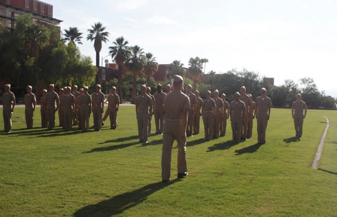 Prospective cadets who finish the UA Naval ROTC's new student orientation over the summer attend an integration ceremony to officially become cadets.