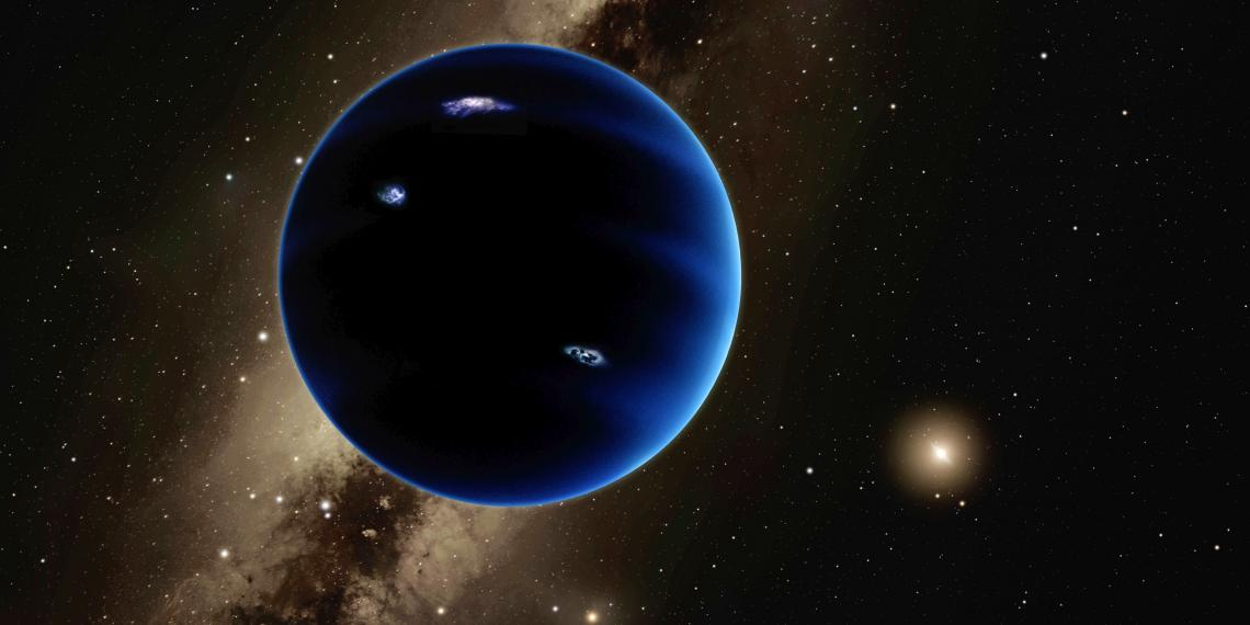 An artist's illustration of Planet Nine, a hypothesized Neptune-size planet orbiting in the distant reaches of our solar system