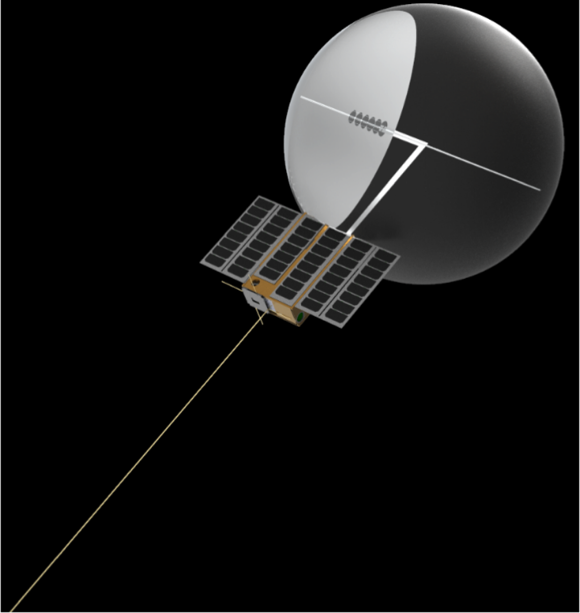 A rendering of CatSat, a nanosatellite being built by UA students.