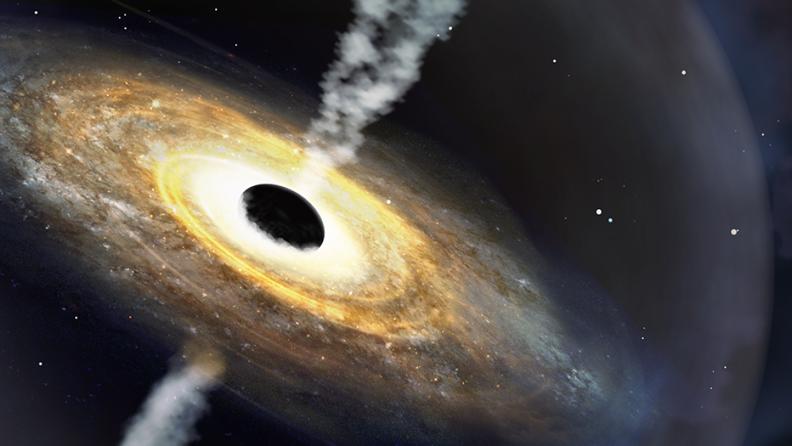 An artist's impression of the quasar Pōniuāʻena, the first quasar to receive an Indigenous Hawaiian name.