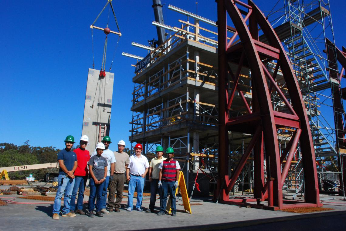 Robert Fleischman, pictured with members of his research team at a test structure built on the shake table at UC San Diego's Englekirk Structural Engineering Center, will travel to Italy as a Fulbright scholar to lead an integrated research and teaching p