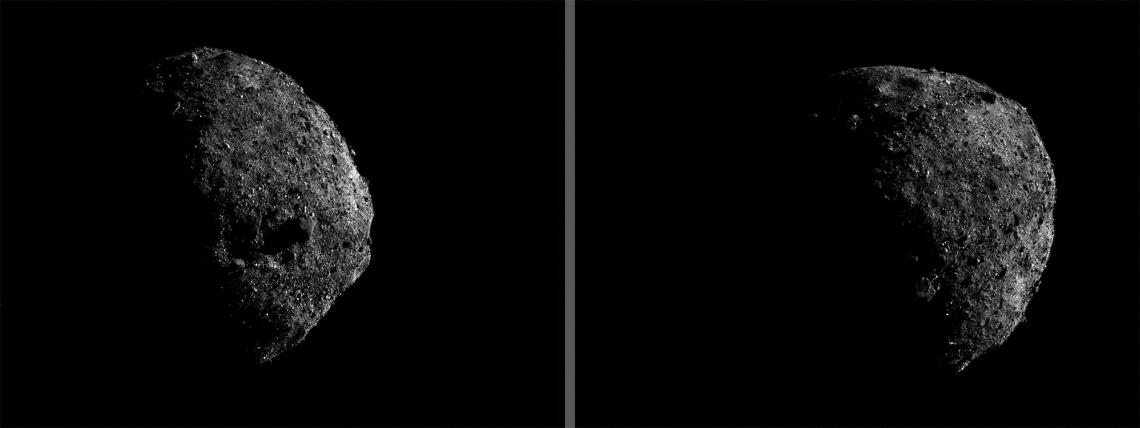 OSIRIS-REx took these images of Bennu's southern hemisphere on Jan. 17 from a distance of about 1 mile . The large boulder – fully visible in the middle of the left frame and in partial shadow in lower portion of right frame – is about 165 feet  across.