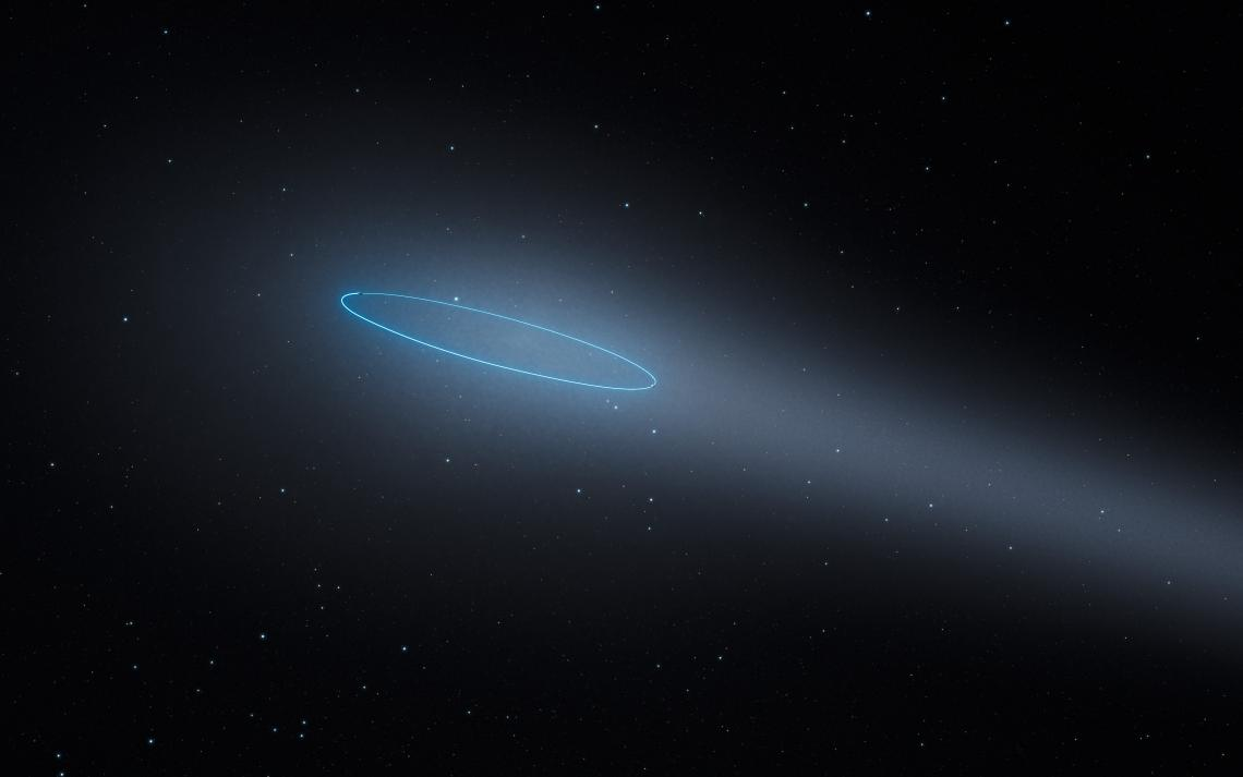 This artist's impression shows the binary asteroid 288P, located in the main asteroid belt between the planets Mars and Jupiter. The object is unique as it is a binary asteroid that also behaves like a comet. The cometlike properties are the result of wat