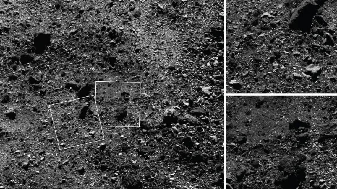 The spacecraft used its MapCam instrument to capture the wide-angle image of a 590-foot  wide area with many rocks, including some large boulders, and PolyCam to snap the close-up frames, which are 101 feet  across.