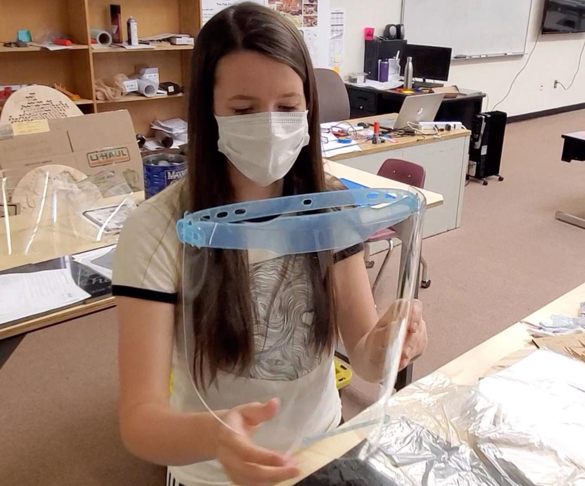 Blue Ridge High School senior Emily Halls works on a face shield in the Fab Lab.