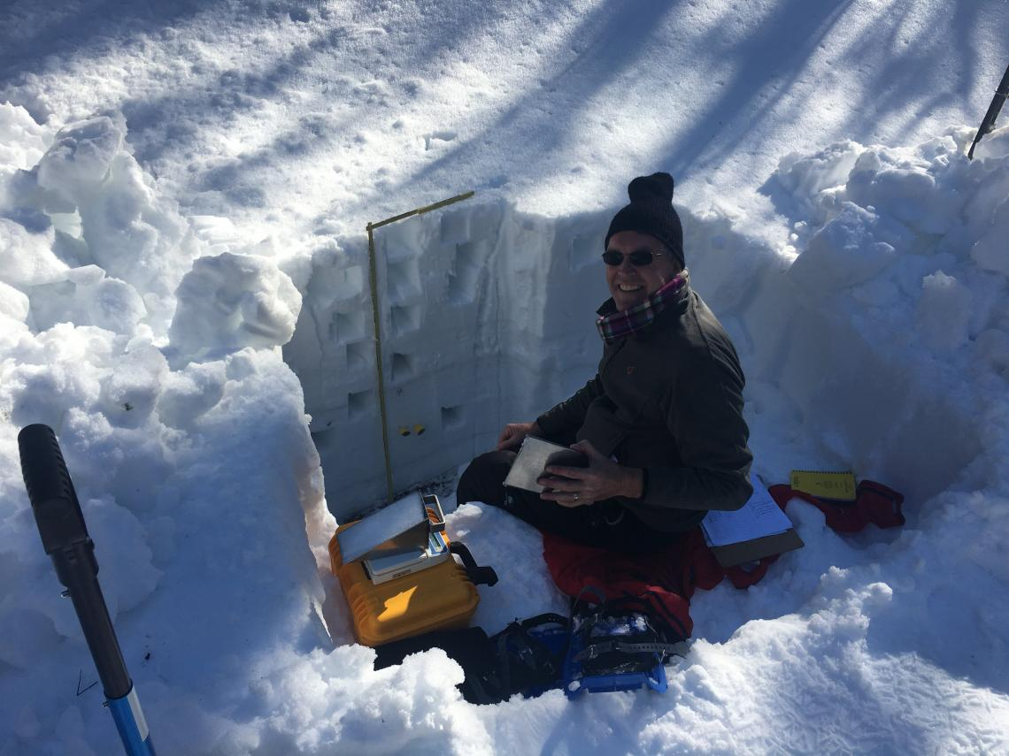 "Willem van Leeuwen, a UA professor of natural resources and the environment, measures snowpack in a ""snow pit"" along Arizona's Mogollon Rim during a snow survey in 2017."