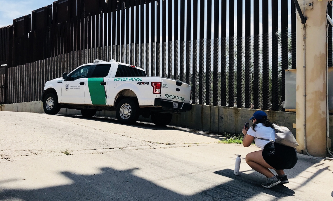 Olivia Jackson, a former journalism undergraduate student, documents the presence of the U.S. Border Patrol in Nogales, Arizona. A new master's degree in bilingual journalism aims to take advantage of the School of Journalism's proximity to the border.