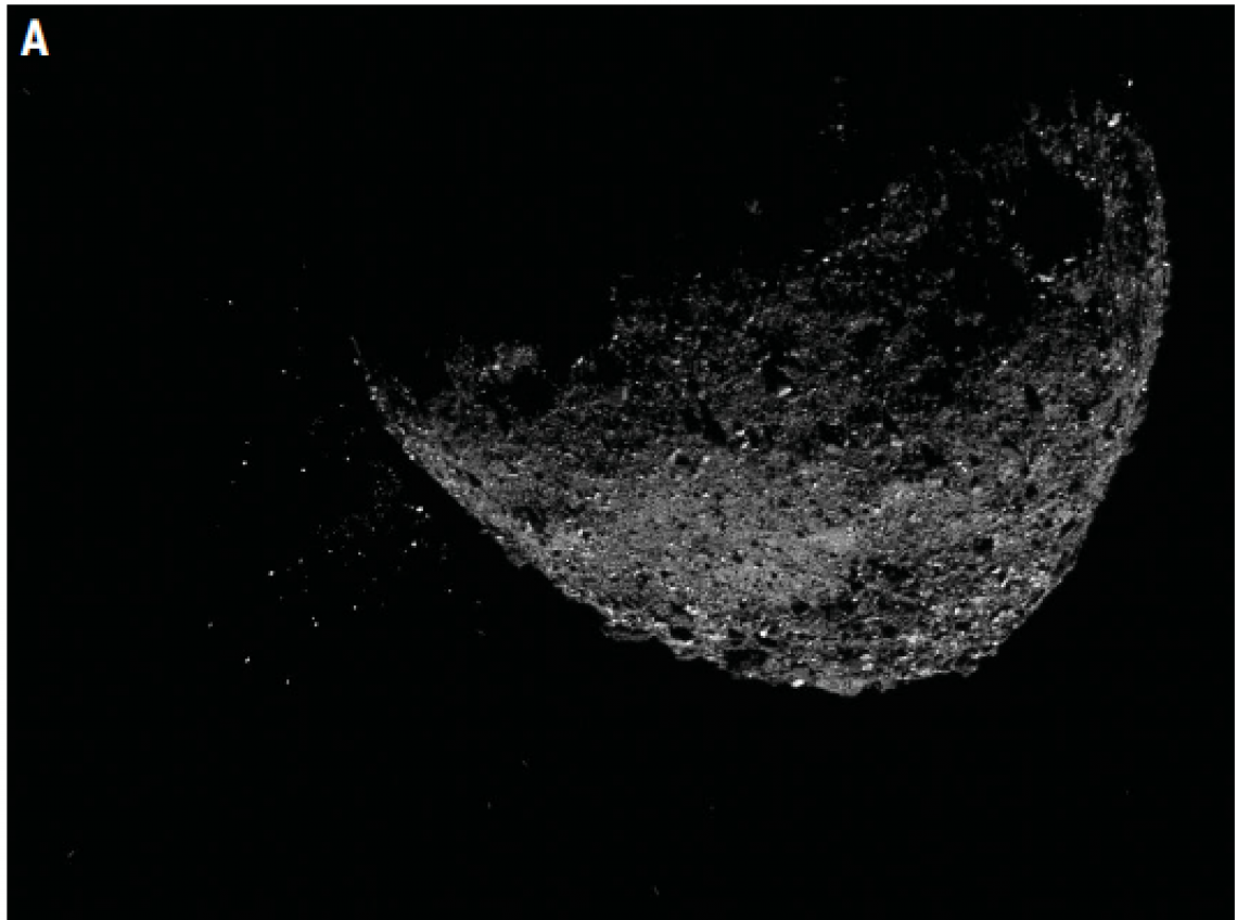 This view of asteroid Bennu ejecting particles from its surface on January 6 was created by combining two images taken by the NavCam 1 imager onboard NASA's OSIRIS-REx spacecraft: a short exposure image , which shows the asteroid clearly, and a long expos