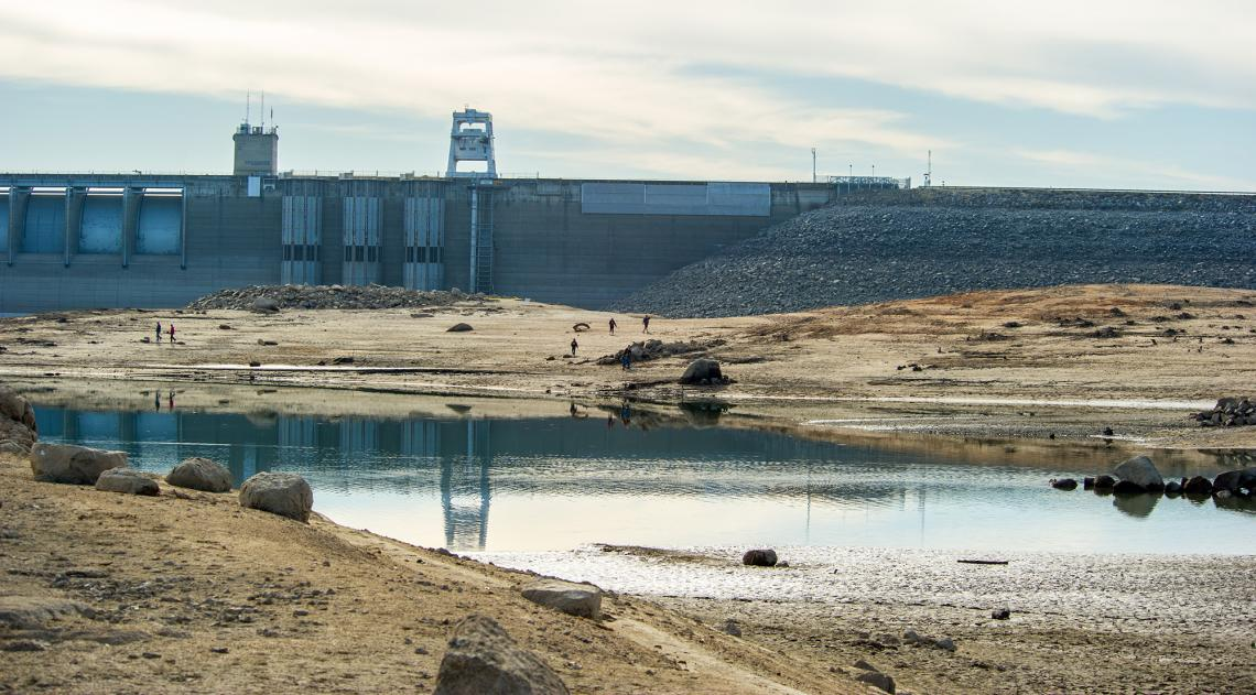 "This photo was taken Jan. 26, 2014, during California's most recent ""perfect drought"" and shows low water drought conditions at Folsom Dam and Lake, located in Sacramento and El Dorado counties. Folsom Lake is part of the Central Valley Project, operated"