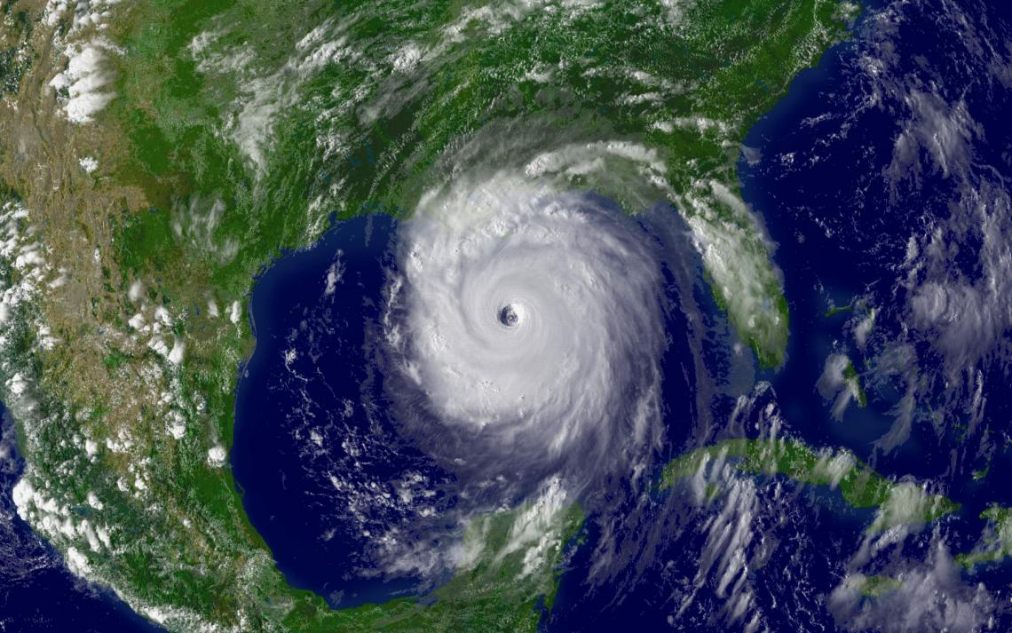 An image of Hurricane Katrina taken Aug. 28, 2005, as the storm's outer bands lashed the Gulf Coast of the U.S. a day before making landfall and leaving a path of destruction in its wake.