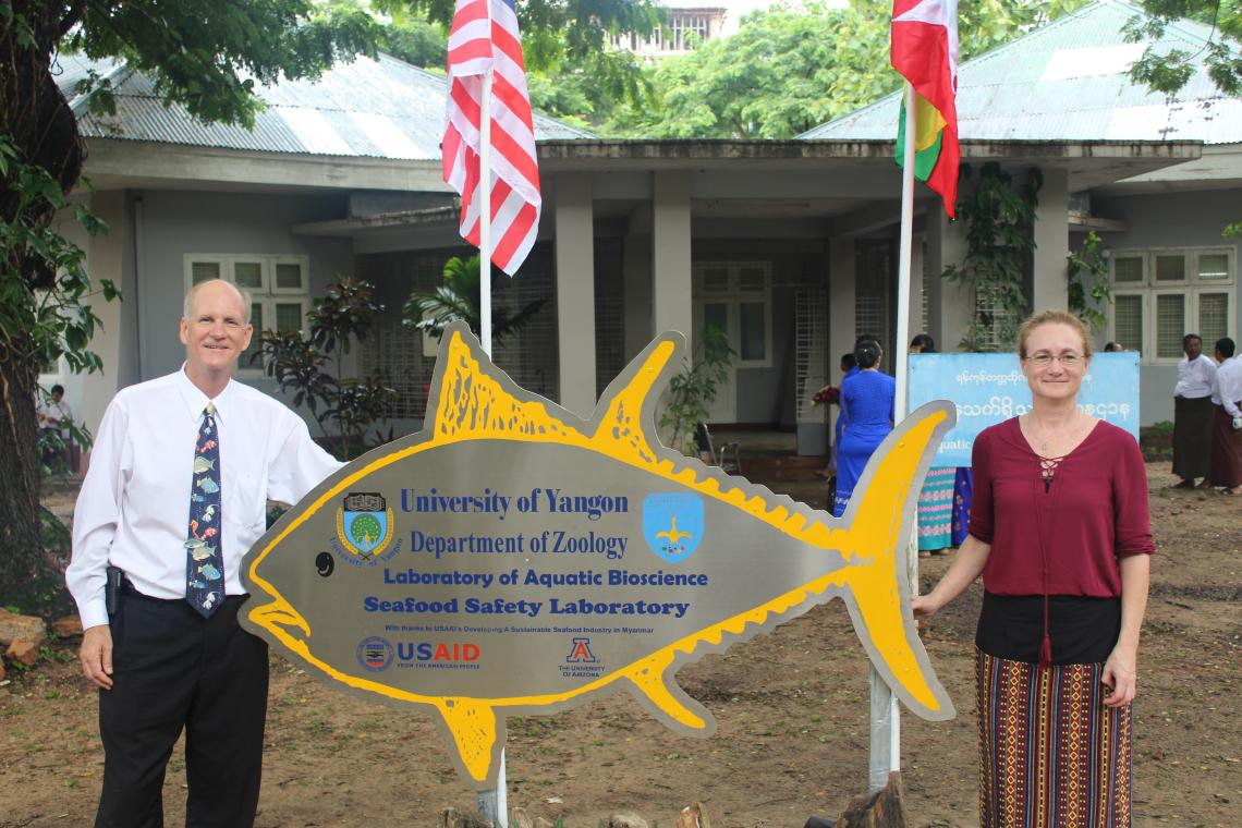 Kevin Fitzsimmons , recipient of the award for Excellence in Global Education, has helped to establish a modern seafood safety testing laboratory at Yangon University in Myanmar .