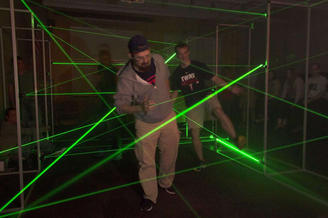The flashiest draw of the show, the laser maze is a complex network of lasers in an otherwise pitch-black room through which visitors are required to navigate.