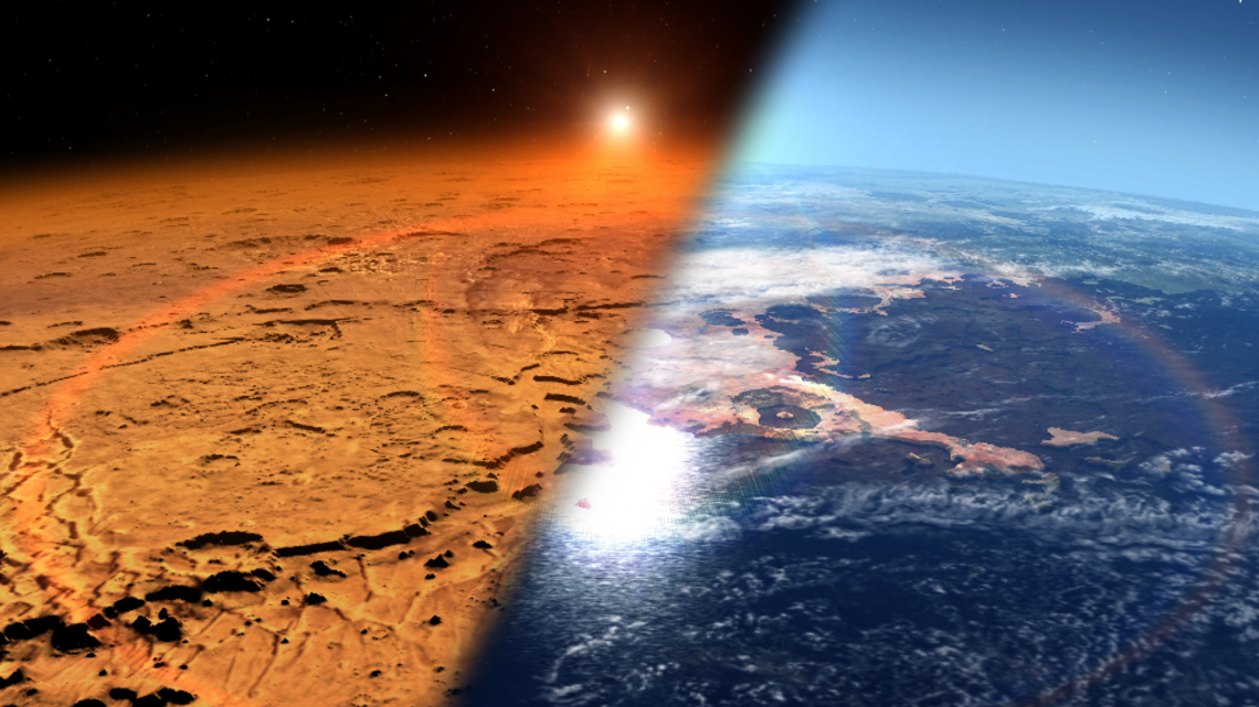This artist's concept depicts the early Martian environment  — believed to contain liquid water and a thicker atmosphere — versus the cold, dry environment seen at Mars today . NASA's Mars Atmosphere and Volatile Evolution is in orbit of the Red Planet to