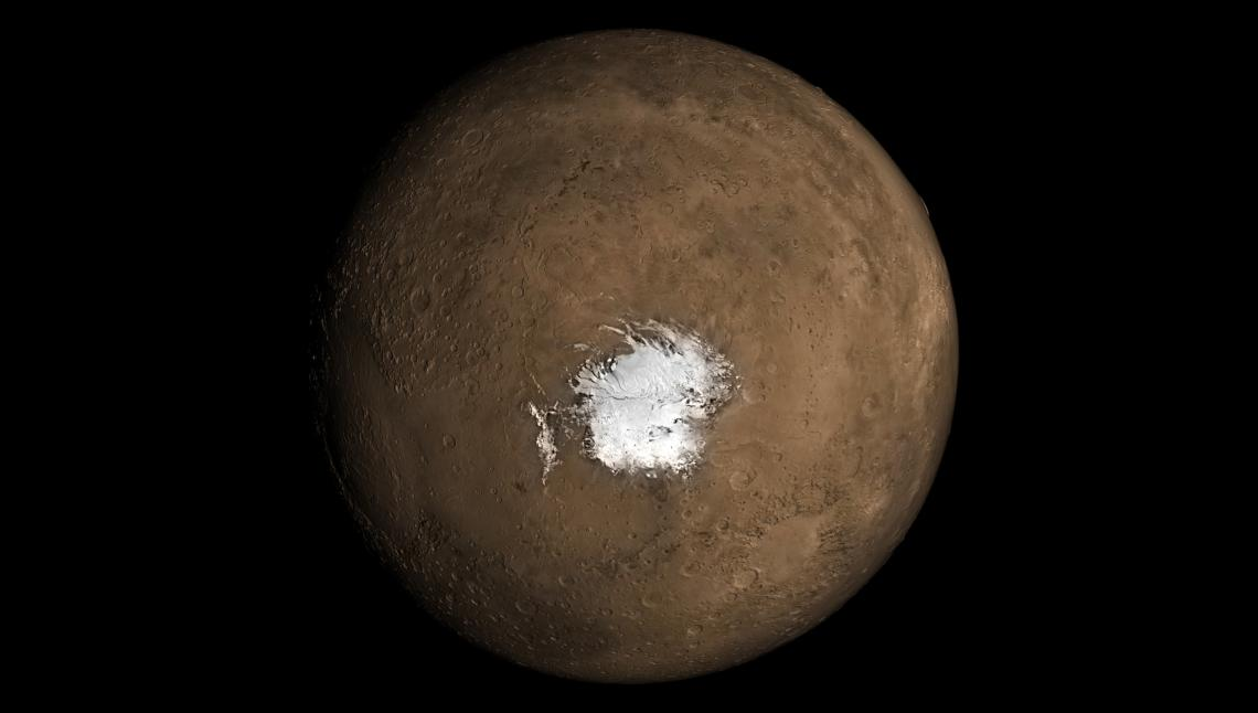 A new study in Geophysical Research Letters argues there needs to be an underground source of heat for liquid water to exist underneath the Martian southern polar ice cap.