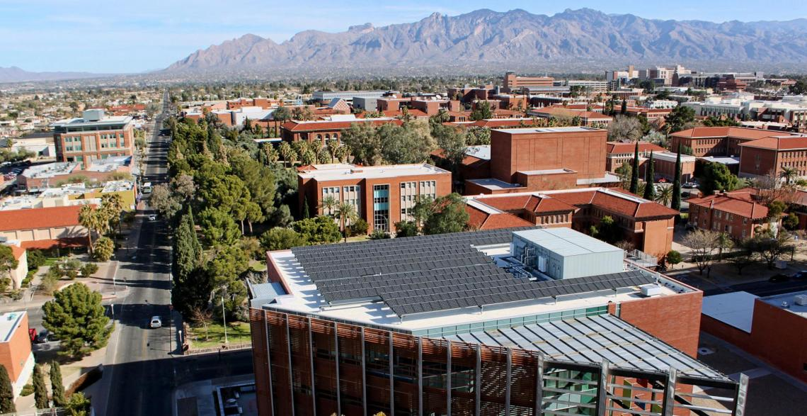 The University of Arizona's existing sustainability efforts, such as these solar panels on the roof of McClelland Park, will be significantly bolstered by a new partnership with Tucson Electric Power.