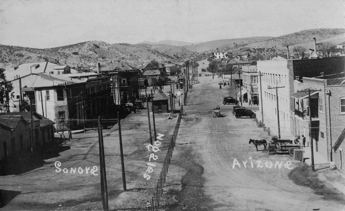 This undated photo from UArizona Special Collections' Southwestern and Borderlands Photograph Collection shows the border between Nogales, Arizona, and Nogales, Sonora, along International Street.