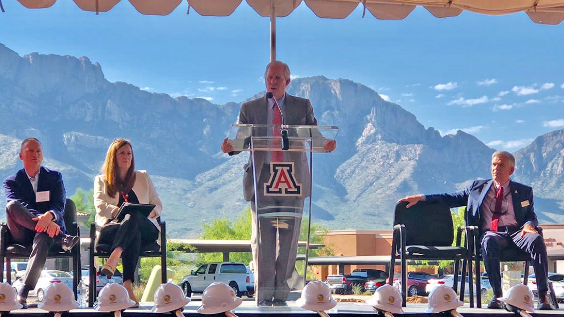 UA President Robert C. Robbins delivers remarks at the University of Arizona Center for Innovation at Oro Valley groundbreaking ceremony.