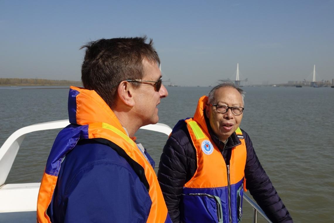 University of Arizona historian David Pietz  with professor Zhou Kaiya, a pioneering baiji dolphin researcher, on Yangtze River in November 2019, searching for finless porpoises.
