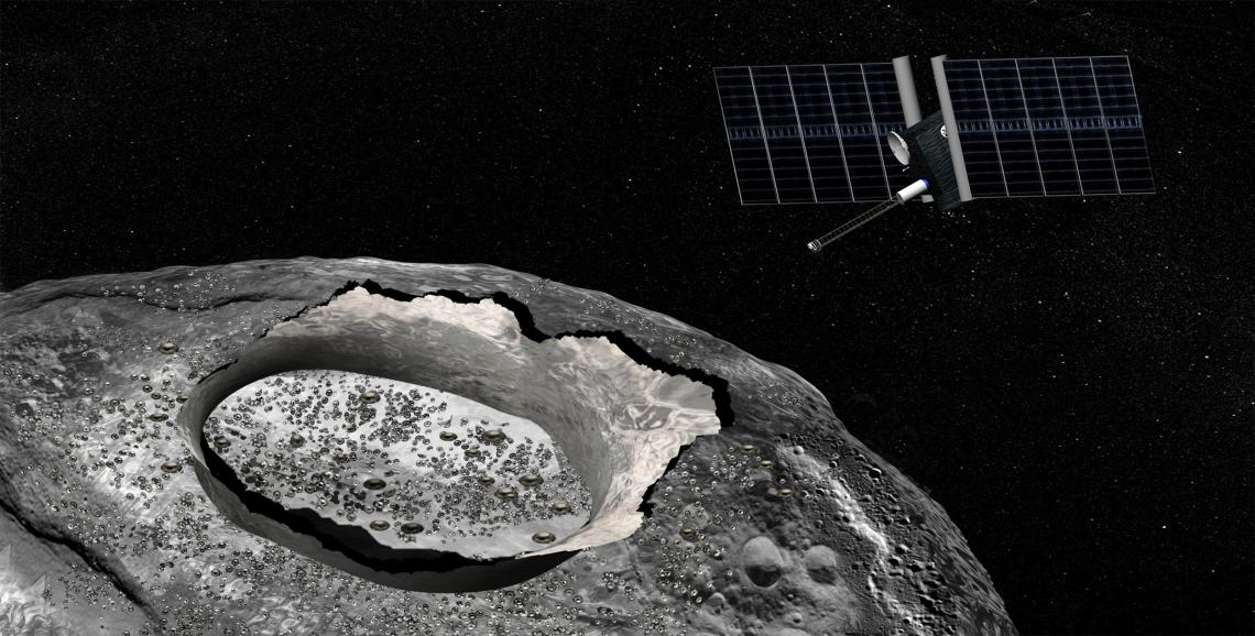 An artist's concept of the Psyche spacecraft, a proposed mission for NASA's Discovery program that would explore the huge metal Psyche asteroid from orbit