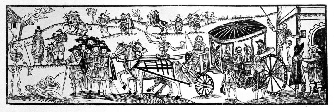 """Runaways fleeing from the plague,"" a woodcut from 'A Looking-glasse for City and Countrey,' printed by H. Gosson in 1630. Ute Lotz-Heumman, director of the UArizona Division for Late Medieval and Reformation Studies, said that when rich people can leave"