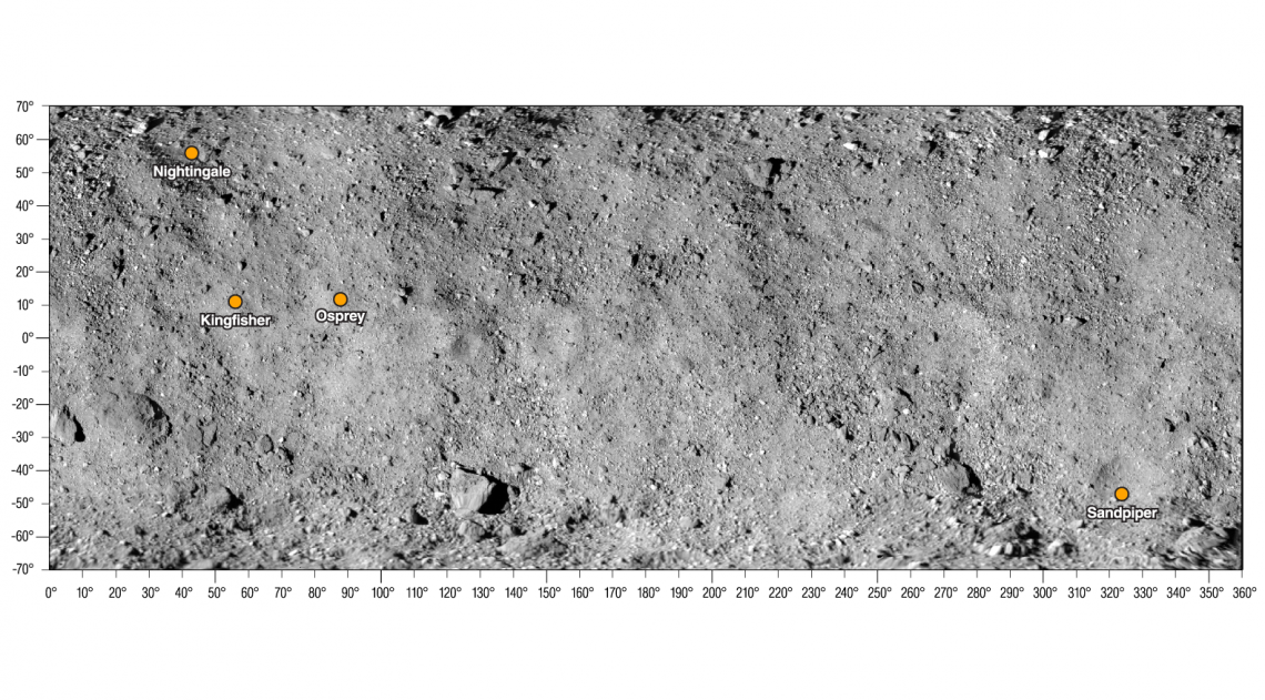 The final four candidate sample collection sites shown on a map of asteroid Bennu. They are designated Nightingale, Kingfisher, Osprey and Sandpiper. Credit: NASA/Goddard/University of Arizona