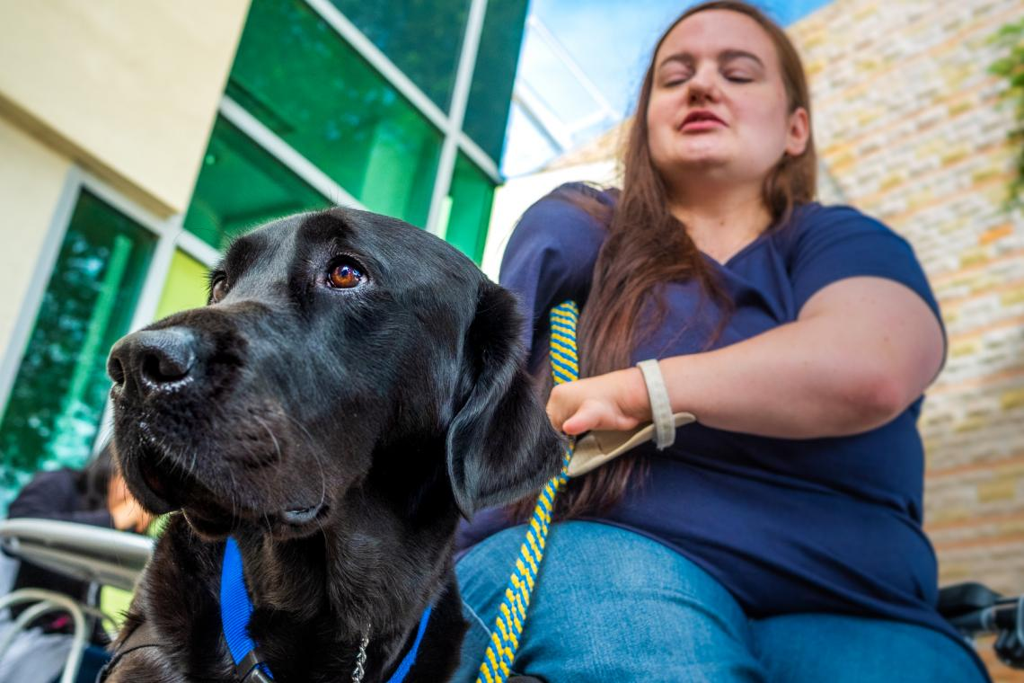 Shelby Smith was matched with her assistance dog Picasso through the nonprofit Canine Companions for Independence. UA researcher Evan MacLean is looking for ways to help organizations like Canine Companions identify promising assistance dogs sooner.
