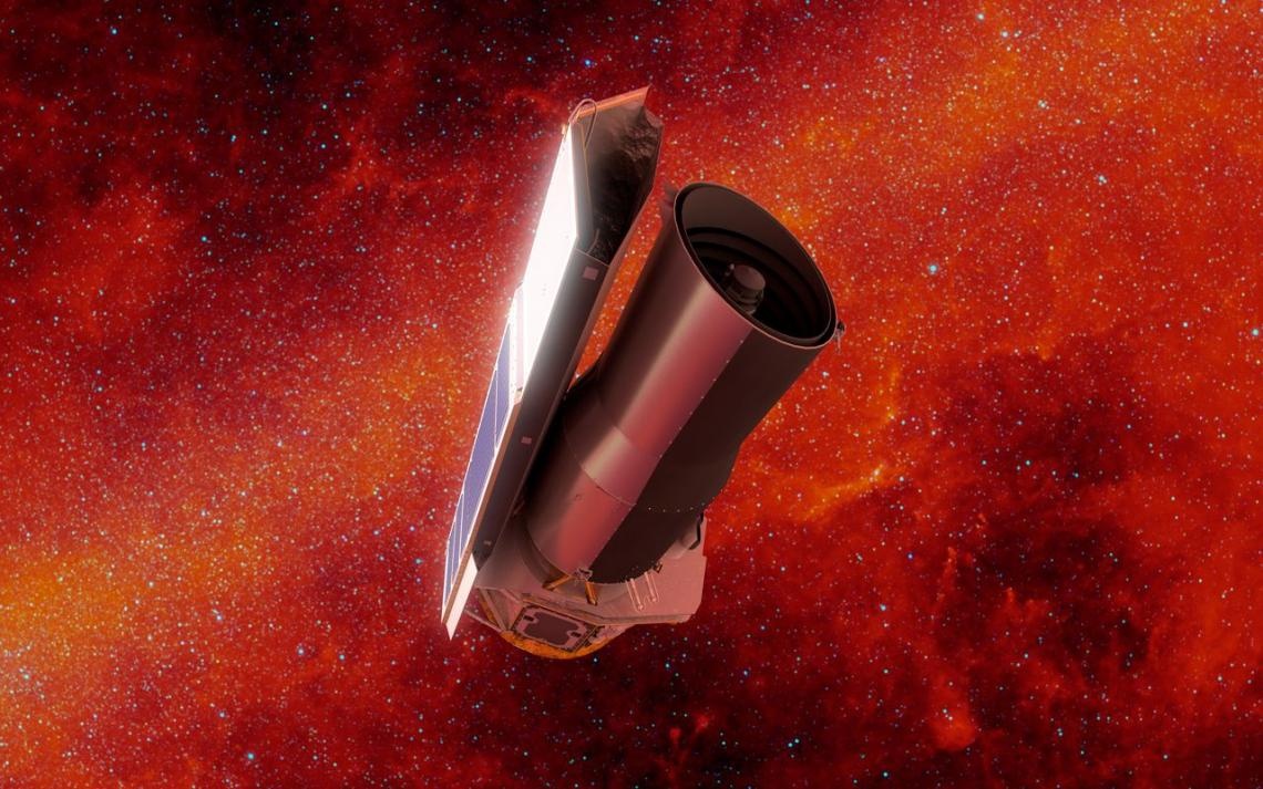 In this artist's rendering of NASA's Spitzer Space Telescope in space, the background is shown in infrared light.