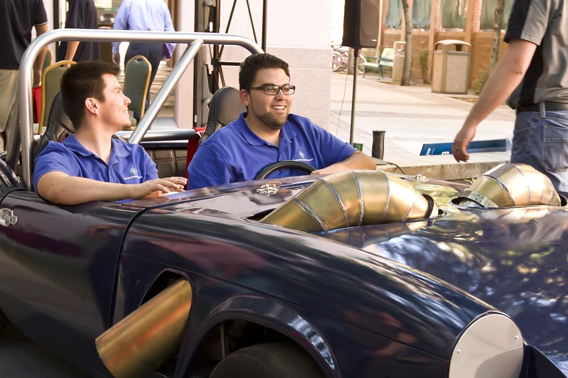 British roadster royalty meets future propulsion power: UA engineering students converted a 1977 Triumph Spitfire into a turbine-powered car.