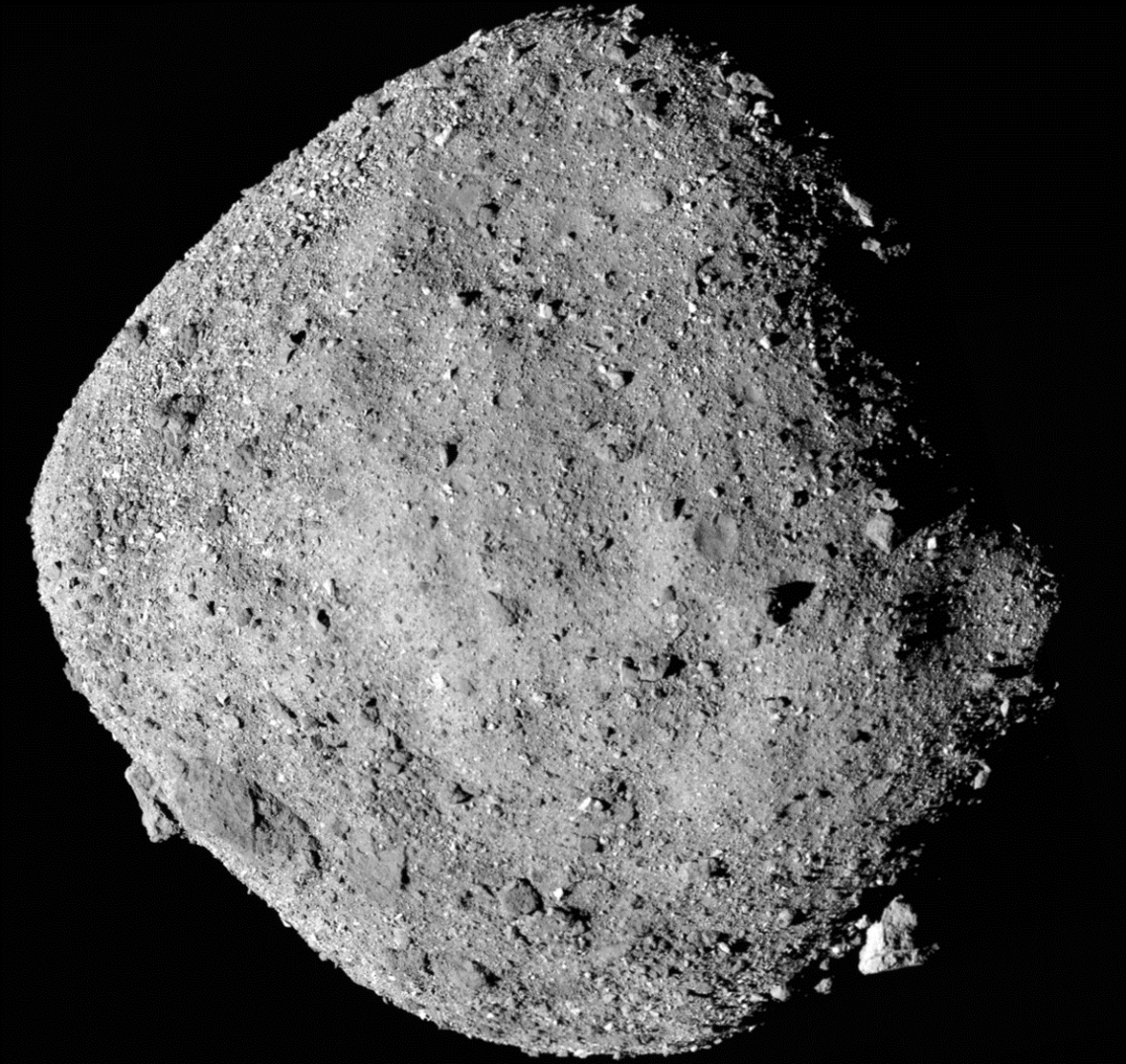 This mosaic image of asteroid Bennu is composed of 12 PolyCam images collected on Dec. 2 by the OSIRIS-REx spacecraft from a range of 15 miles .