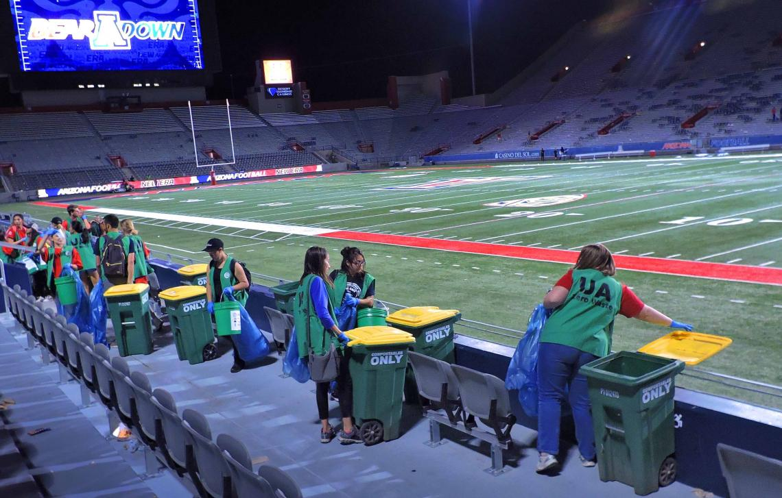 More than 100 students took part in this year's Zero-Waste Challenge, collecting more than 3.8 tons of recycling and more than 800 pounds of compostable materials.