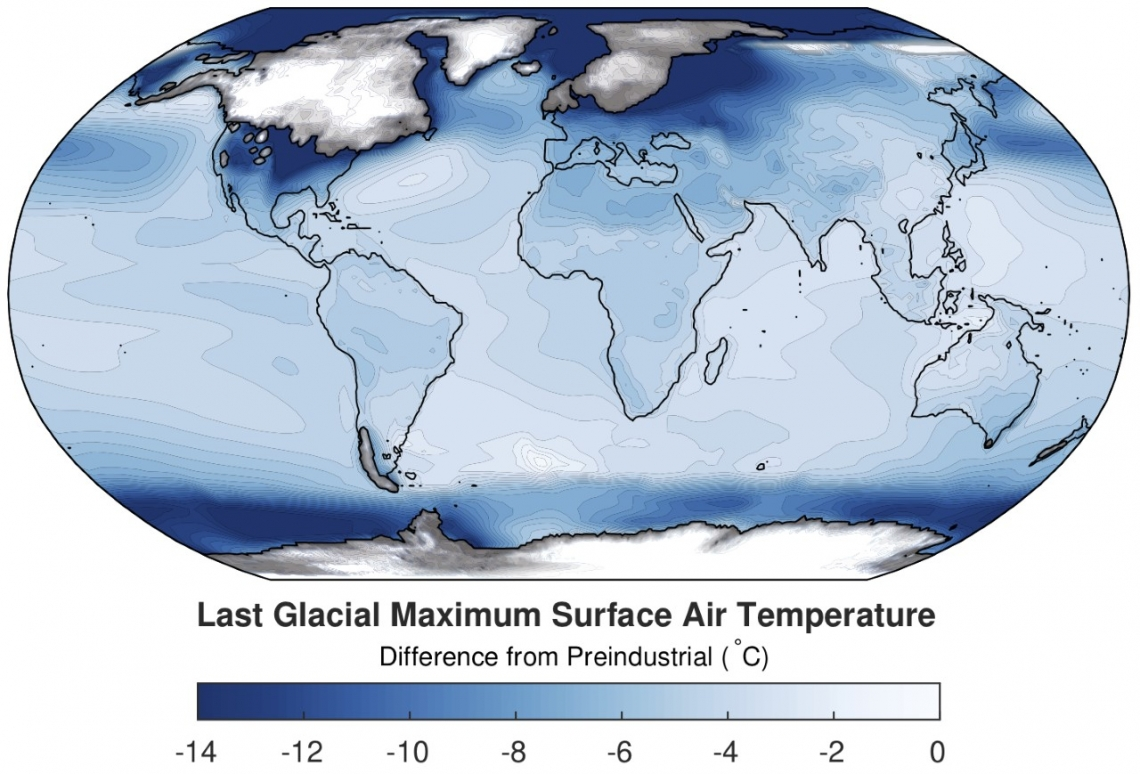 World temperature map of the ice age in relation to preindustrial times.