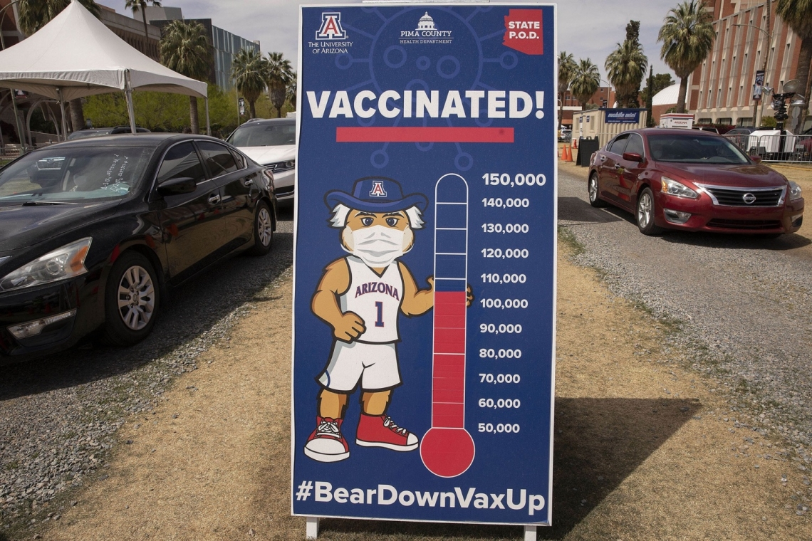 thermometer showing over 100,000 people vaccinated
