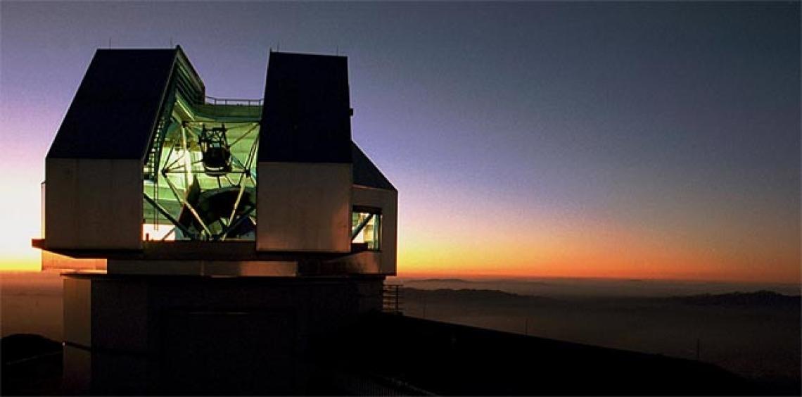 Telescope at sunset
