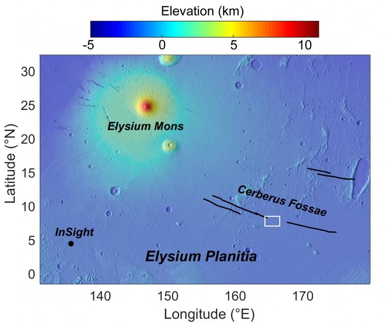 Elysium Planitia, the region of recent explosive volcanism (white box) and NASA's InSight lander.