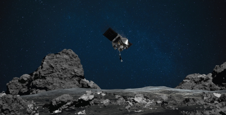 Artist's impression of the OSIRIS-REx spacecraft at asteroid Bennu