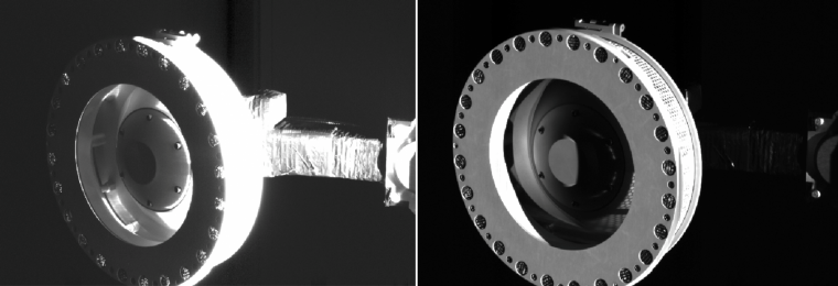 Image of the OSIRIS-REx Touch-and-Go Sample Acquisition Mechanism (TAGSAM) taken with the spacecraft's SamCam camera