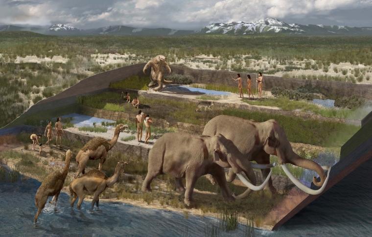 artist rendering of prehistoric animals