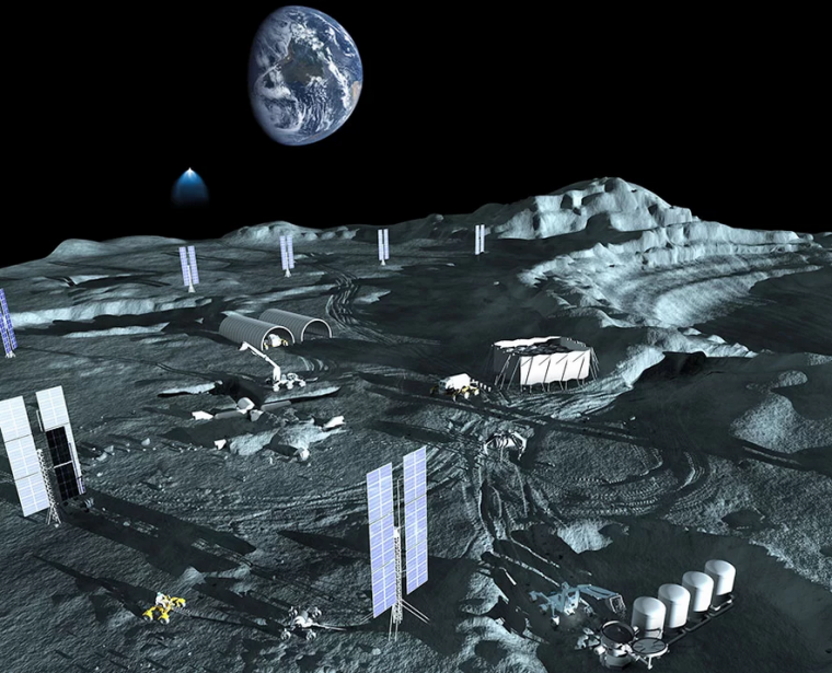 illustration of a mining base on the moon