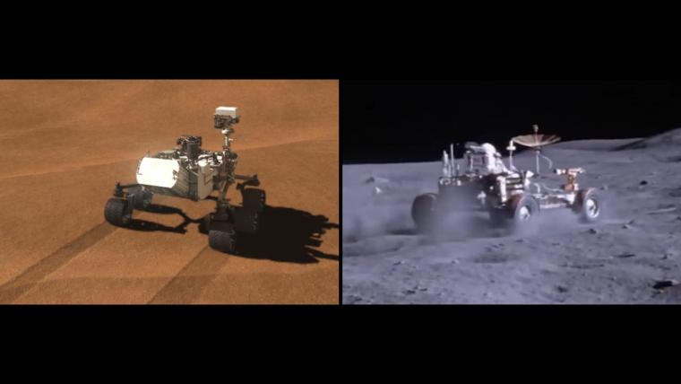 "Left: Fifth years of extraterrestrial off-roading: ""Curiosity"" leaves tracks on Mars. Right: An Apollo rover kicks up dust."
