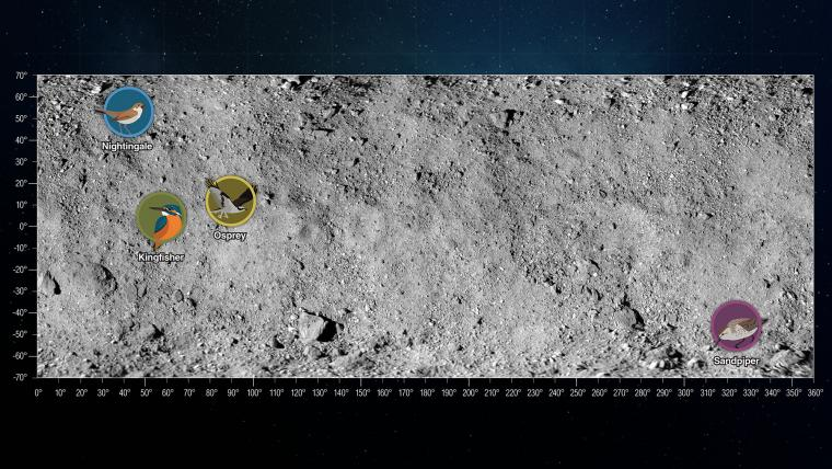 The OSIRIS-REx team spent several months evaluating data from four candidate sites – dubbed Sandpiper, Osprey, Kingfisher and Nightingale – in order to identify the best option for the sample collection.