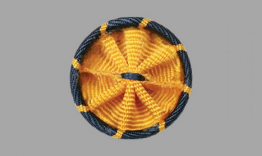 A rosette pins in gold and blue, colors symbolizing science and engineering