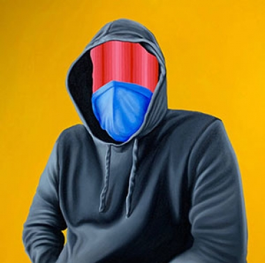 painting of a person in a hoodie with their face masked by colors