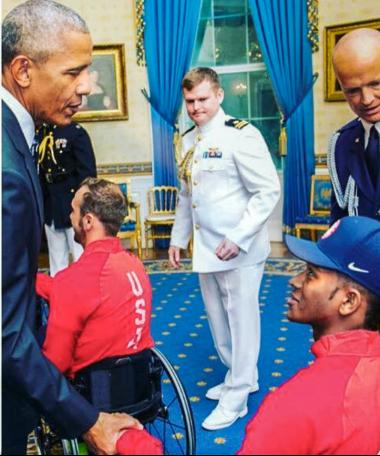 Brewer meeting President Obama after the 2016 Paralympic Games.