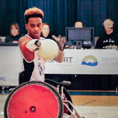 Brewer playing wheelchair rugby in the Paralympics