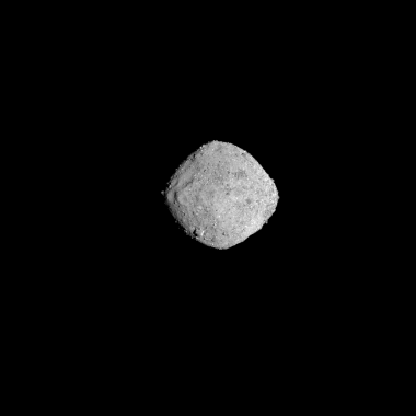 NASA's OSIRIS-REx spacecraft obtained this image of the asteroid Bennu on November 16, 2018, from a distance of 85 miles . The image, which was taken by the PolyCam camera, shows Bennu at 300 pixels and has been stretched to increase contrast between high